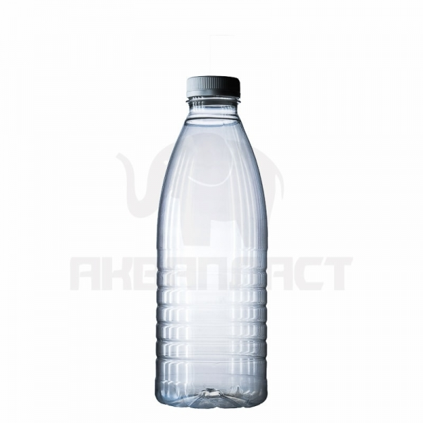 Бутылка ПЭТ 1.0 л. горло 38 мм. (молочная) прозрачная с колпачком