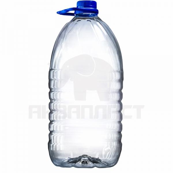 Бутылка ПЭТ 5.0 л. горло 38 мм.м квадратная (узкое) с колпачком и ручкой